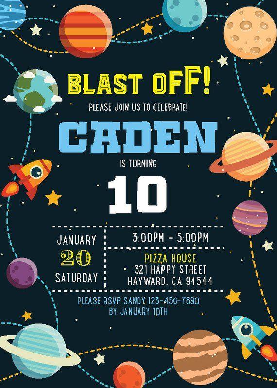 digital space birthday invitation  planet invitation
