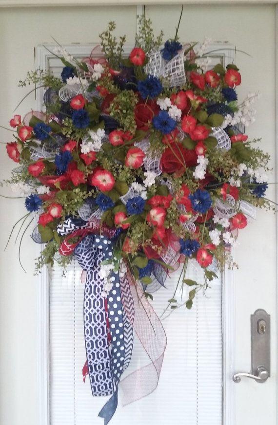 Patriotic wreath 4th of July wreath Summer wreath