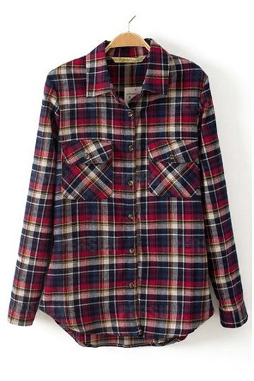 Classic Red Plaid Long-Sleeved Lapel Shirt [SHWM00059] - PersunMall.com