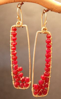 Bohemian wire wrapped earrings - great shape, wonderful Pantone color for Fall.