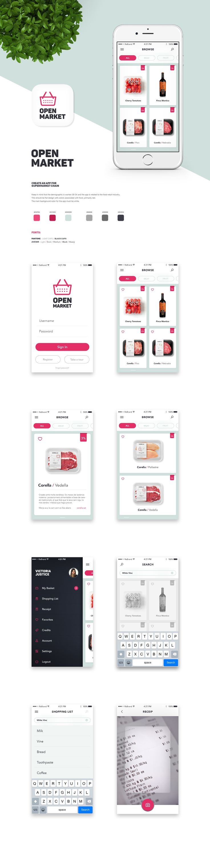 Design #54 by Re Brand | Fun flat app for a supermarket.