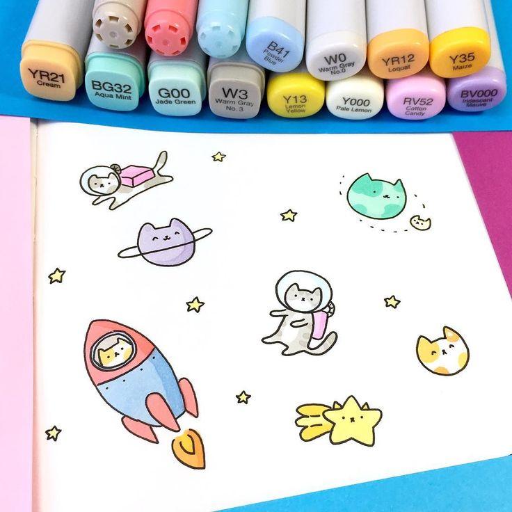 "16.4k Likes, 58 Comments - ⭐️KiraKiraDoodles (@kirakiradoodles) on Instagram: ""Space Kitties ✨ • • #kawaii #sketchbook #doodle #kitties #catdoodle #cosmic #copicmarkers…"""