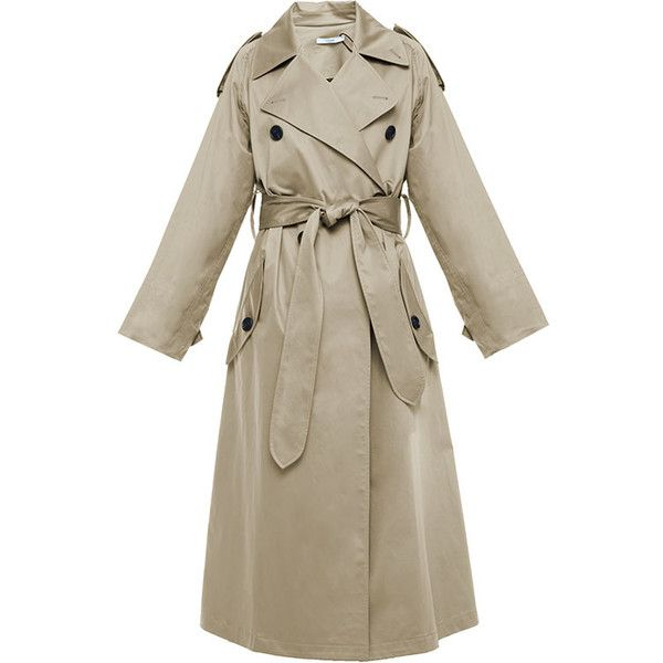 Tome Beige Belted Cotton Sateen Trench Coat ($433) ❤ liked on Polyvore featuring outerwear, coats, jackets, beige trench coat, double-breasted trench coat, brown coat, long belted coat and double breasted belted coat