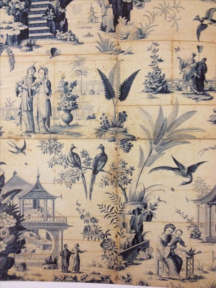 Chinoiserie inspired tiles by jean baptiste pillement for Chinoiserie mural wallpaper