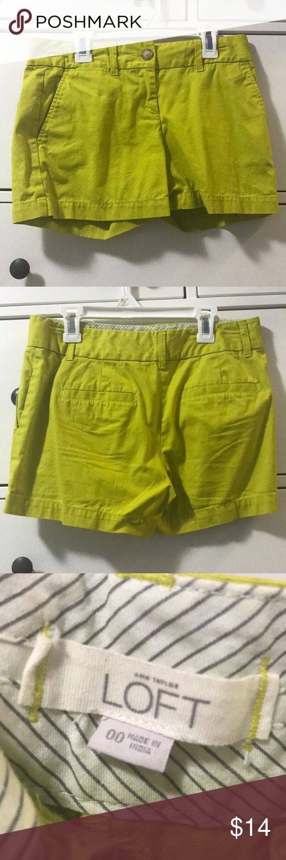ANN TAYLOR LOFT LIME GREEN SHORTS Gender: Women's  Company: Ann Taylor LOFT  Description: Go outside and match the warmth of the approaching spring days in these super cute and stylish lime green shorts!  Size: 00  Condition: These were one of my favorite pairs of shorts when they used to fit me but they still look, smell, and feel like new! No pulls, no stains, no rips! Just like new! LOFT Shorts