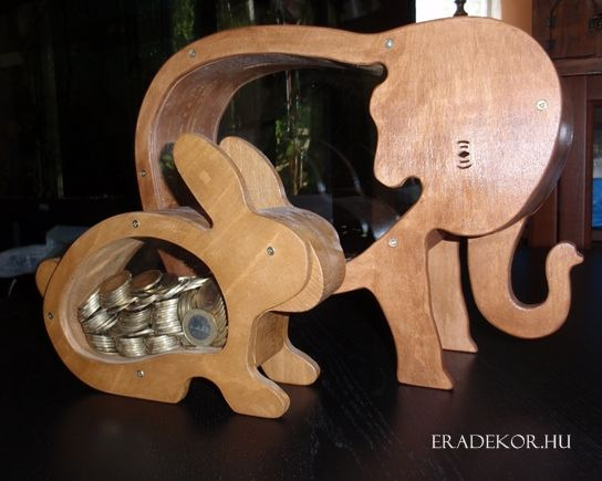 Nyuszi és óriás elefánt persely. További információk katt a linkre >> http://eradekor.hu/malacpersely-allatpersely-kezmuves-ajandek-gyerekeknek/