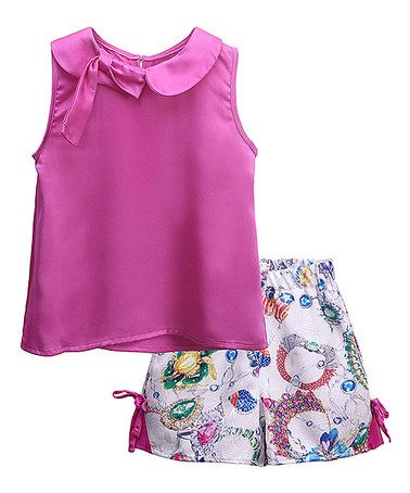 Look what I found on #zulily! Hot Pink Sleeveless Top & White Jewel Shorts - Toddler & Girls #zulilyfinds