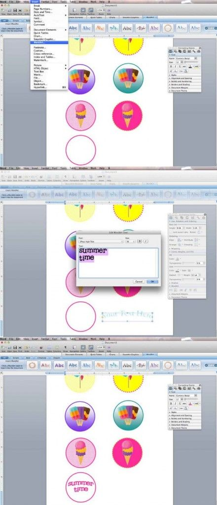 Make printables with Microsoft word