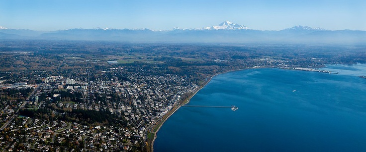 Gorgeous #WhiteRock Aerial Photo - OCEAN VIEWS from a stunning aerial panoram of White Rock with a crystal clear image of Mount Baker in the background.