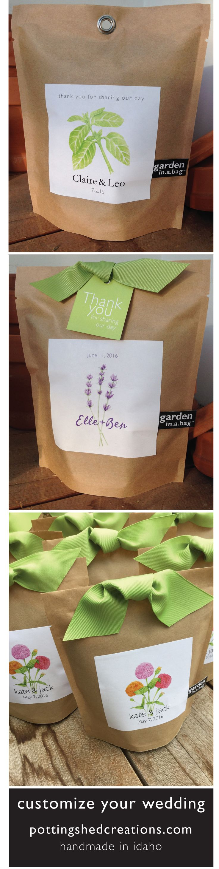 Garden in a Bag is a unique and customizable option for your wedding.  Send your guests home with herbs and flowers that will remind them of your special day as they grow.