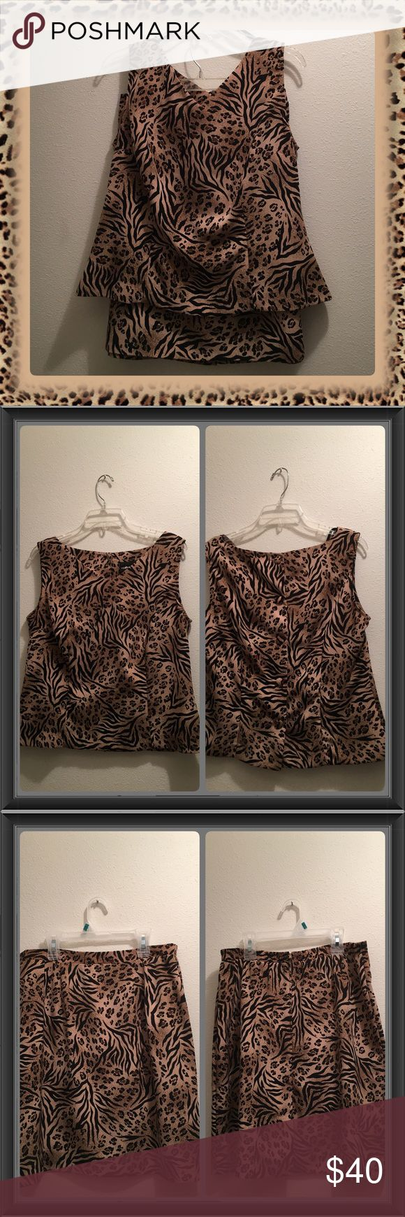 NWOT SAG HARBOR LEOPARD PRINT SKIRT OUTFIT SZ 12 Very classy Sag Harbor Sleeveless Leopard Print Skirt Outfit SZ 12 never worn. Top is Sleeveless, small V neck in front & buttons down the back. The skirt has a straight band in front, elastic at back, zips up & has a slit up the middle bottom of skirt, not real high. I purchased to wear to Church & gained weight b4 I got a chance to wear it. It looks great on with either Black of tan pumps. Paid $70 for it & selling very reasonable. PRICE IS…