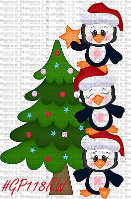 SL- CHRISTMAS ~ PENGUINS ~ Scrapbook Embellishment GNB1401L