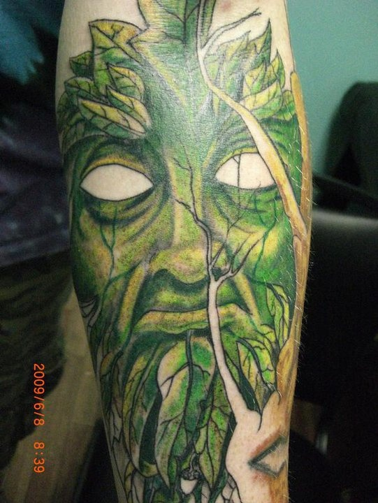 The Green Man free hand by Greg Allison at Free Spirit Tattoo in Meridianville Alabama