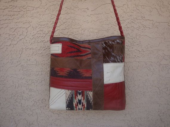 Leather Patchwork Tote Bag In Reds, Creme, Brown, Speckled hair On Hide, and Tribal Wool