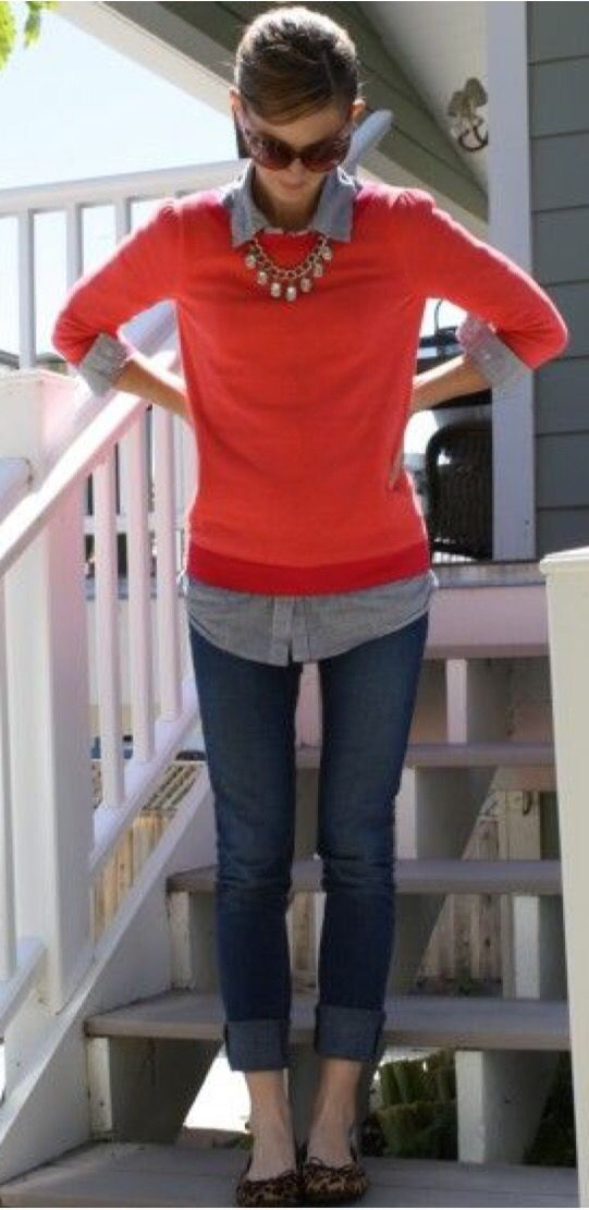 Perfect preppy style! Red/orange sweater with blue button down underneath. Love! Stitch fix inspiration fall and winter 2016
