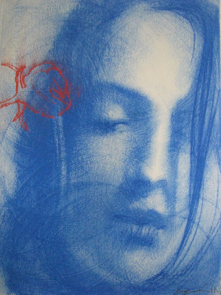 Omar Galliani Blue Oltremare 3 Pastel on paper 37.5 x 28 cm available at 3A The Excellence of Art in Mauritius