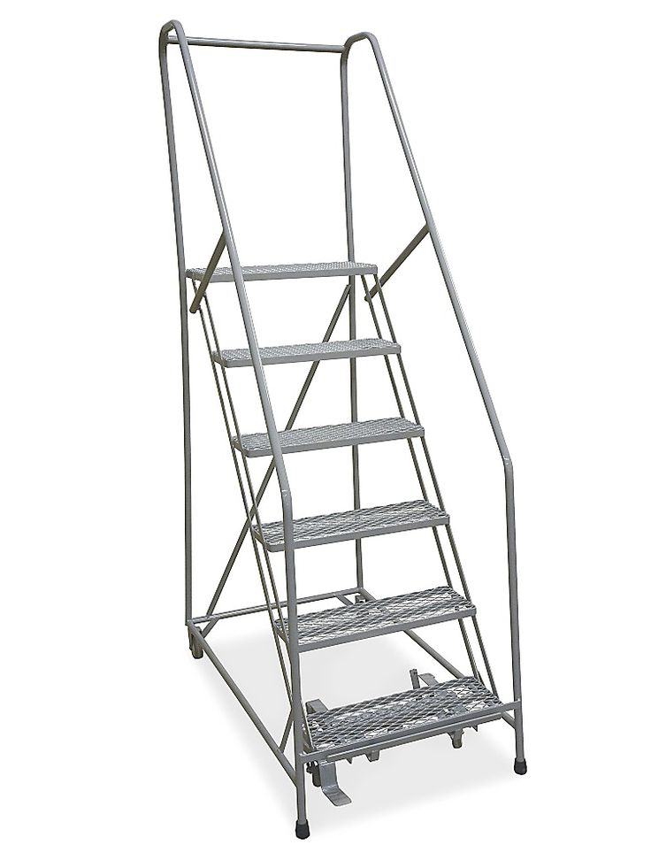 "6 Step Rolling Safety Ladder - Assembled with 10"" Top Step H-1083-10 - Uline"