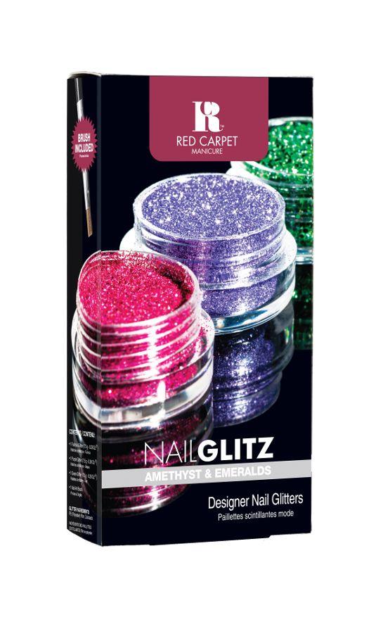 Το Nail Glitz Amethyst and Emeralds περιέχει 1 βαζάκι φούξια glitter, 1 βαζάκι μωβ, 1 βαζάκι πράσινο glitter και ένα nail art πινέλο.        Τιμή 11,90€