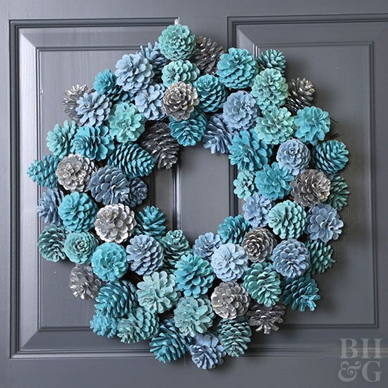 Large Decorate your door with this incredibly simple DIY pine cone wreath
