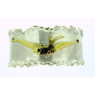 Bracciale a schiava in argento 925%° con rondine in oro 750%°