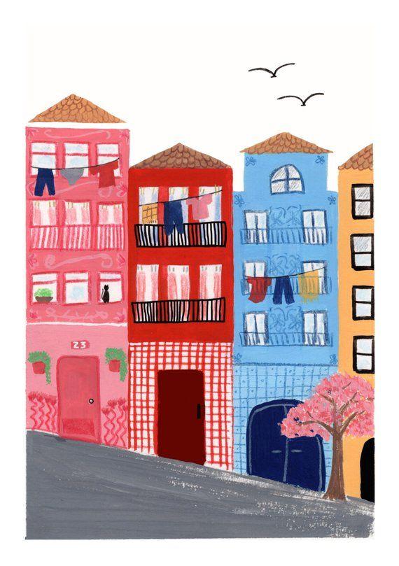Casas de Oporto Print Ilustraciones, Disenos de unas