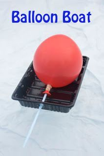 Make a Balloon Boat! Could be used when teaching about states of matter (gas) with first graders.