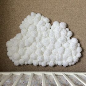Winding the Bobbin Up : Pom-Pom Cloud Rug for Child's Bedroom DIY