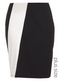 Pencil Skirt with Panel Detail Black/White