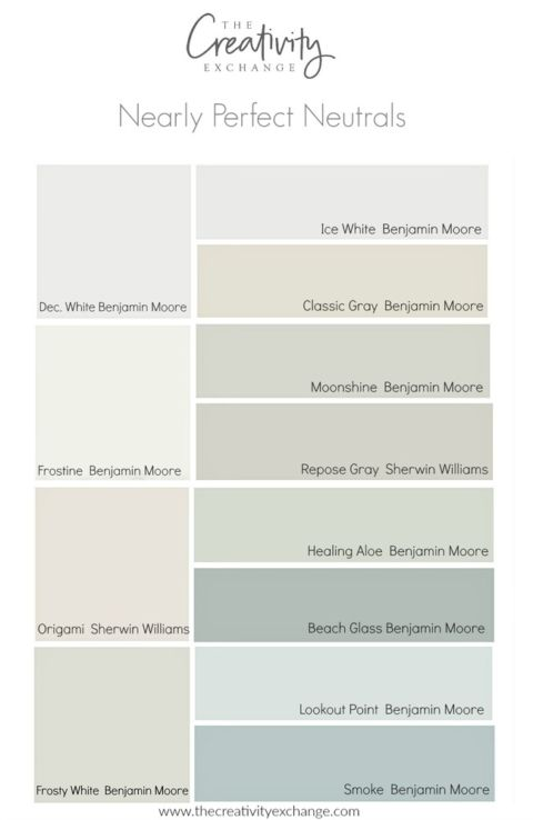 Nearly perfect neutral paint colors that are versatile and consistently work well.