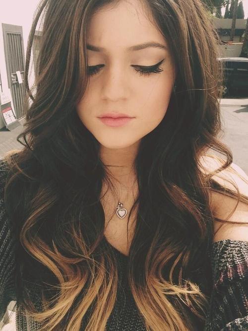 Kylie Jenner Hair. Ombré Hair. Long Brown Hair. Curly
