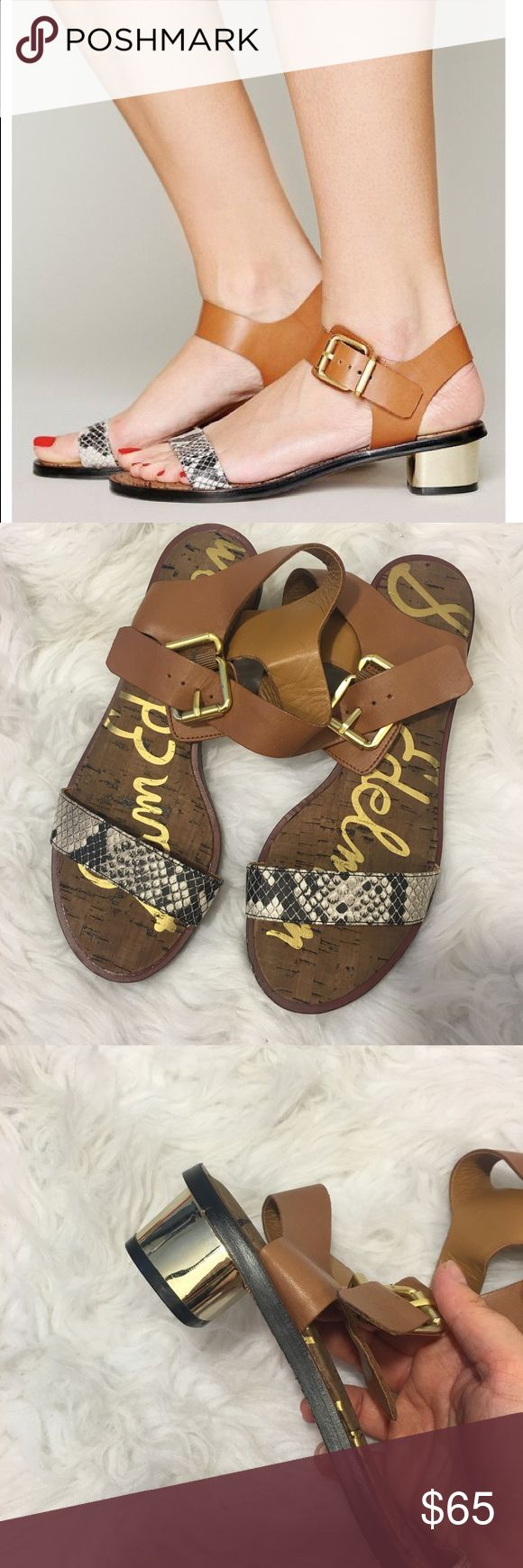 New Sam Edelman Snake Buckle Sandals So cute and perfect dressed up or down! Brand new and never worn. Camel top strap with snake print at the toe. Gold hardware and heel. No trades!! 072017120gwb Sam Edelman Shoes Sandals