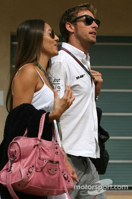 Jenson Button, Brawn GP with his girlfriend Jessica Michibata