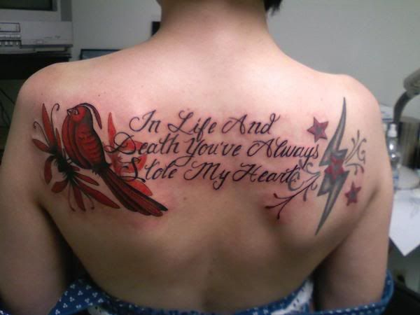 I have these lyrics on my ribs. Very special tattoo for me <3