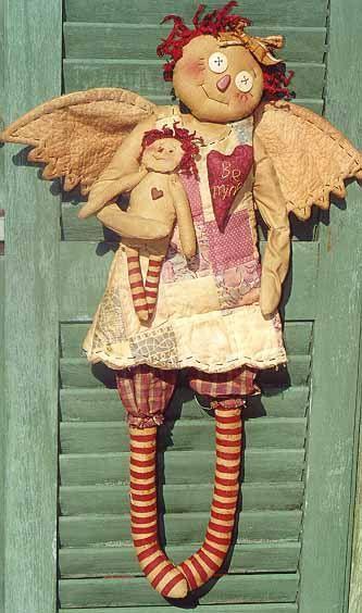 Le pays armoire Primitive Folk Art Raggedy Ann Angel Doll Craft couture patron Home Decor