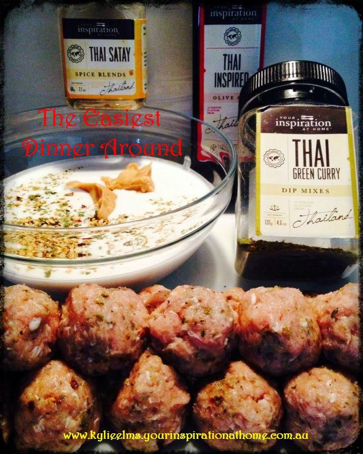 YIAH Thai Green Curry Meatballs with YIAH Thai Satay Sauce www.kylieelms.yourinspirationathome.com.au