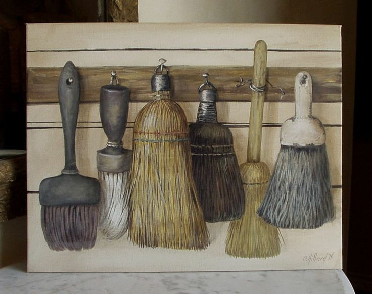 whimsical trompe l 39 oeil painting vintage whisk broom brush collection folk art pinterest. Black Bedroom Furniture Sets. Home Design Ideas