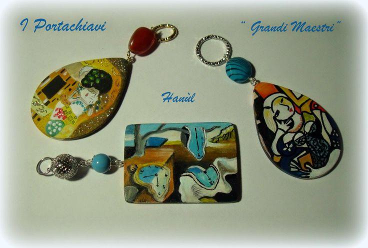 """Hanùl Style Blog   Borse e  accessori dipinti a mano: PORTACHIAVI """" GRANDI MAESTRI"""""""