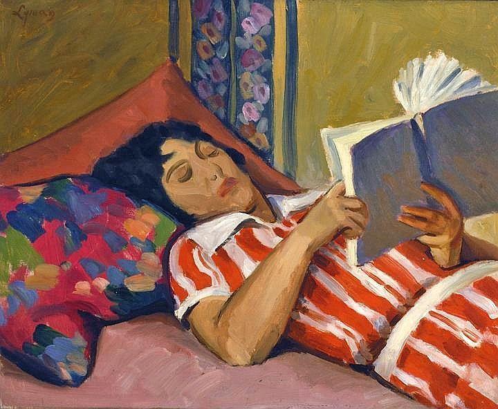 John Goodwin Lyman (1886-1967), The Book (Corinne), ca. 1925. oil on panel, 32 x 40.5 cm