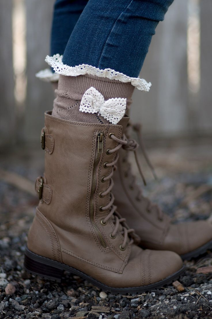 Bow Boot Socks with Crochet Lace Ruffle and Bow. These boot socks are a must have for any boot lover! #boutiquesocks #bootsocks