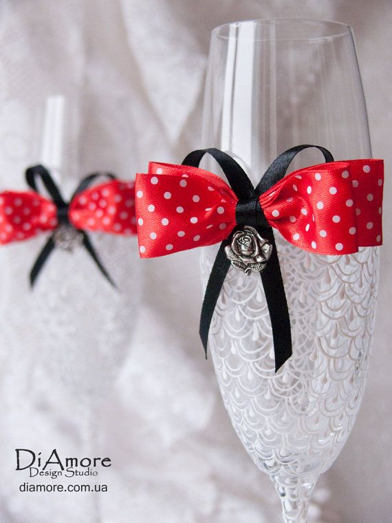 Wedding glasses from the collection LACE red Rose by DiAmoreDS, $45.00