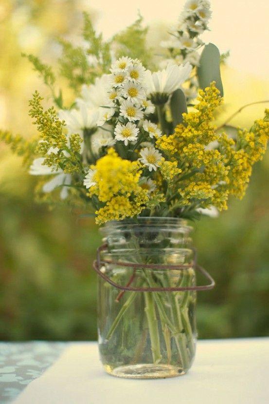 Summer flowers in mason jars. One of my favorite things.