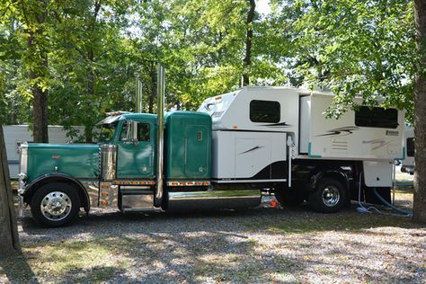 Julie and Ernie have what might be the biggest truck camper rig on planet Earth. This is the story of their Peterbilt semi big rig truck camper.