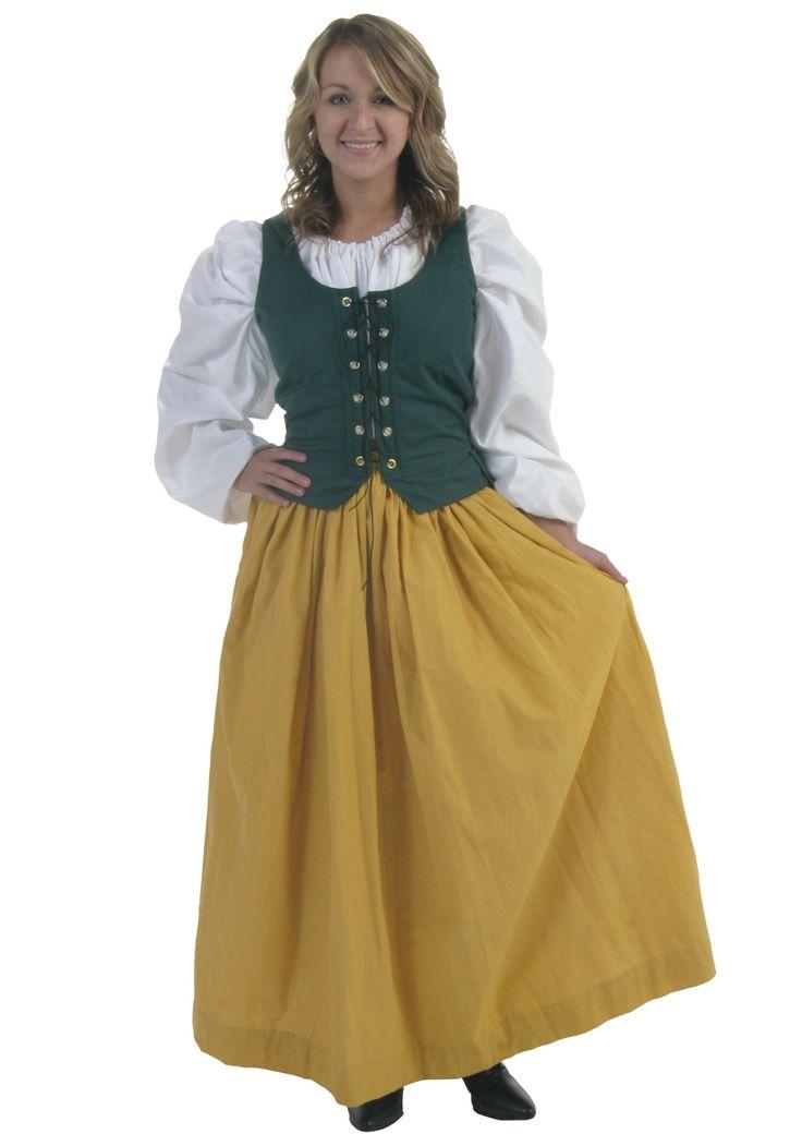 Plus Size Gold Peasant Skirt - Adult Renaissance Clothing Costumes