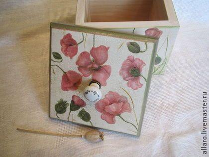 """Короб-конфетница """"Розовые маки"""" - розовый,оливковый,маки,кухонный интерьер"""