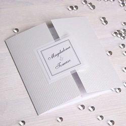 Zaproszenie ślubne z kolekcji subtelnej - perłowe paski
