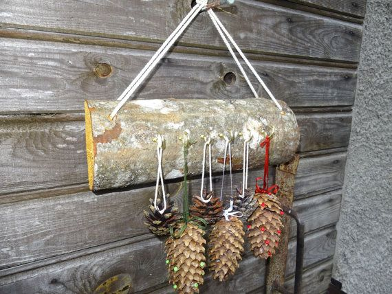 Tree branch decor hanger holder 6 hooks. Rustic by NatureElfsArt