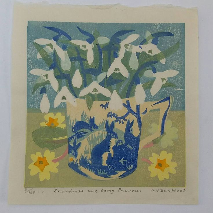 157 vind-ik-leuks, 11 reacties - Matthew Underwood (@mattunderwood_6) op Instagram: 'Snowdrops and early Primroses. #woodblock #printmaking #print #mattunderwood_6 #bunnies #rabbit…'
