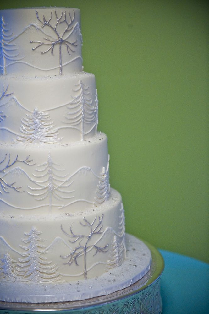 Chomping through a winter wonderland. Subtle texture and sheen make for an elegant winter cake.