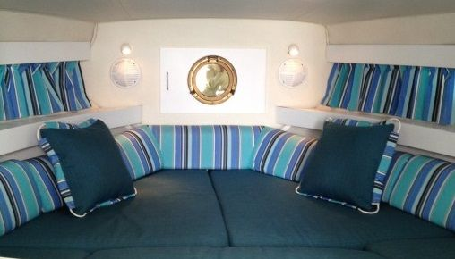 """Designed to compliment even the coziest pleasure craft, Sunbrella Yachting Collection has hundreds of fabric choices to meet all of your decorating """"must haves.'"""