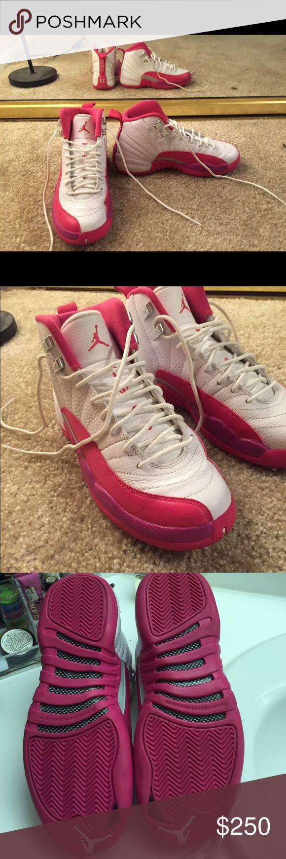 3d3a78f5c0a68f ... Vivid Pink and White Jordan 12s High Tops- LE ...